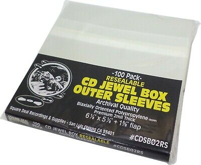 (100)  CD Sleeves - PREMIUM 2mil RESEALABLE - Standard Size Archival Bags Covers