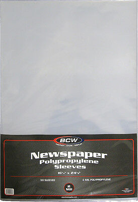 "(100) BCW-SSLV-NP-16X24 Newspaper Bags Covers Sleeves 16 1/4"" x 24 1/8"" Protect"