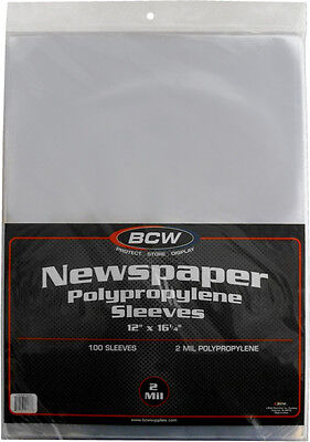 "(500) BCW-SSLV-NP-12X16 Newspaper Bags Covers Sleeves 12 1/8"" x 16 3/8"" Protect"