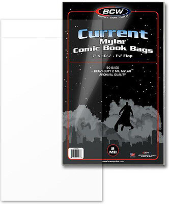 (50) BCW CUR-M2 Current Age Modern Mylar 2mil Sleeves Bags Covers Store Protect