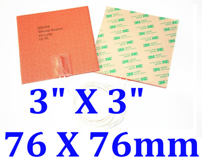 """TWO PCs 3"""" X 3"""" 120V 50W with 3M backing  silicone heater pad"""