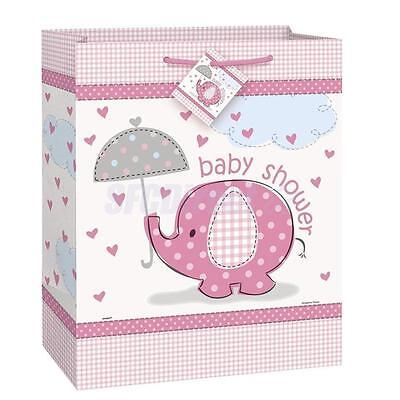 Pink Girls ELEPHANT Baby Shower Party Large Paper Gift Bag 12.5 inch