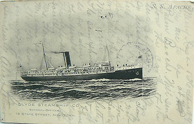 POSTCARD-S.S.APACHE.CLYDE STEAMSHIP Co.UNDIVIDED BACK.VARIOUS PMKS,1905