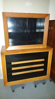 Mid Century Hollywood Regency Dresser Credenza Maximilian Karp Ebony Orange
