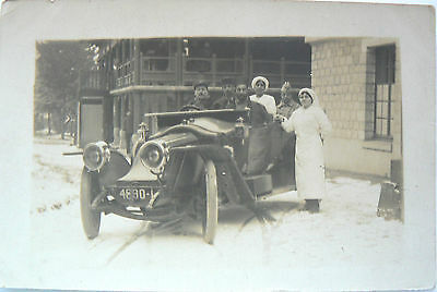 Postcard-Real Photograph Dated 1916. Early(Unknown) Vehicle Outside A Hospital.