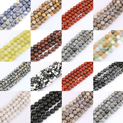 4MM 6MM 8MM 10MM 12MM Agate Stone Loose Spacer Beads Necklace Bracelet Accessory