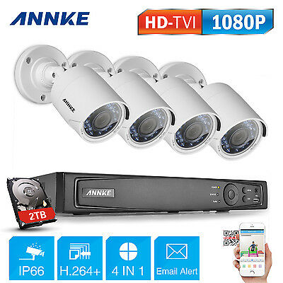 Annke 8CH 1920*1080P HD Home CCTV Security Camera System IR Cut Outdoor 2TB Kit