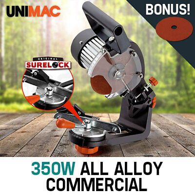 350W Chainsaw Sharpener UNIMAC Alloy Chain Saw Bench Mount Electric Grinder Tool