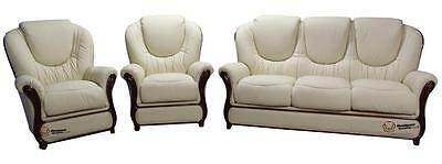 Juliet 3 Seater+Chair+Chair Italian Leather Three Piece Sofa Suite Cream