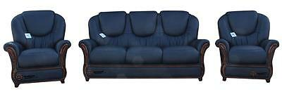 Juliet 3 Seater+Chair+Chair Italian Leather Three Piece Sofa Suite Navy Blue