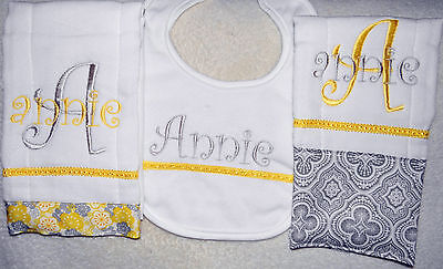 2 Yellow and Blue Floral Personalized Embroidered Burp Cloths