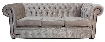 Chesterfield Original 3 Seater Senso Oyster Crushed Velvet Fabric Sofa Settee