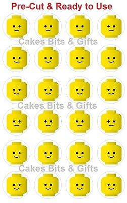 24 x STANDARD FACE LEGO HEAD Edible Wafer Cupcake Toppers Pre Cut, Ready to Use.