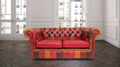 Chesterfield 2 Seater Aniline Old English Patchwork Leather Sofa Settee