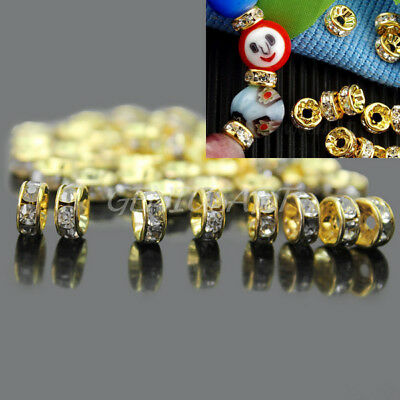 50pcs 6mm Czech Crystal Rhinestone Gold Silver Plated Rondelle Spacer Beads