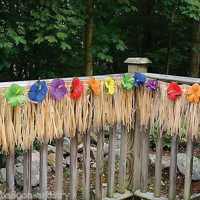 7.3m Giant Hawaiian Tropical Natural Grass Deck Fence Fringe Party Decoration
