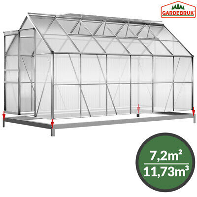 DEUBA Polycarbonate Greenhouse Aluminium Garden House Twin Wall w/ Base 12x6ft