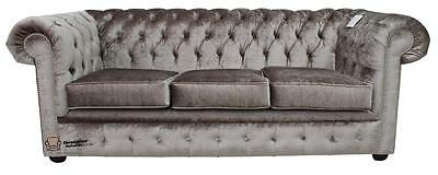 Chesterfield 3 Seater Boutique Beige Velvet Fabric Sofa Settee