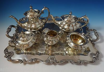 Hampton Court by Reed & Barton Sterling Silver Tea Set 5pc + Plated Tray #1055