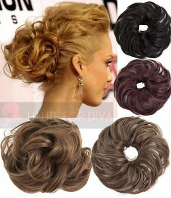New Ladies Wavy Synthetic Hair Scrunchie Elastic Band Hair Piece Wrap Koko Wnyl