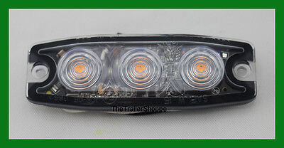 """High Power 3 LED 1/4"""" Super Thin Amber Clear Lens Strobe Warning Surface Mount"""