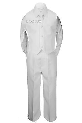 Baby Kid Boy Wedding Communion Baptism Uniform Formal Vest 4pc Suit White S-20