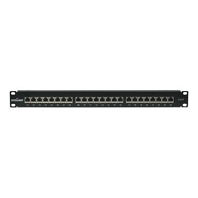 INTELLINET Cat6 24 Port Shielded Patch Panel, Black (720038)