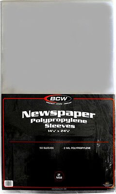 "(50) BCW-SSLV-NP-14X24 Newspaper Bags Covers Sleeves 14 1/8"" x 24 1/8"" Protect"