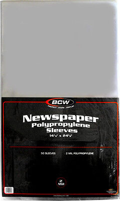 """(1000) BCW-SSLV-NP-14X24 Newspaper Bags Covers Sleeves 14 1/8"""" x 24 1/8"""" Protect"""