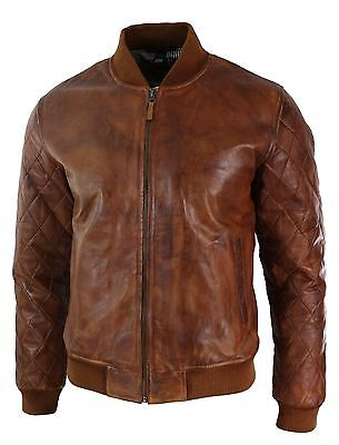 Mens Tailored Fit Tan Brown Vintage Washed Real Leather Bomber Pilot Jacket