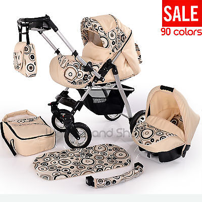 New Baby Pram With SWIVEL WHEELS Car Seat Carrycot Diaper Bag Mattress Pushchair