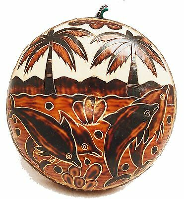 Hand-Crafted PERUVIAN ENGRAVED GOURD PLAQUE WALL HANGING Amazon River Dolphins