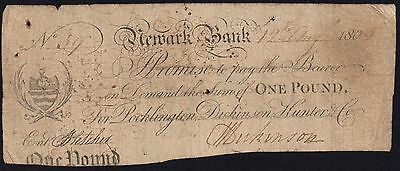 1809 NEWARK BANK £1 BANKNOTE * 59 * G * Outing: 1488b *
