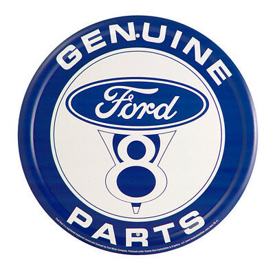 Ford Genuine Parts Metal Sign Vintage V8 Garage Tin Wall Decor 12 in.