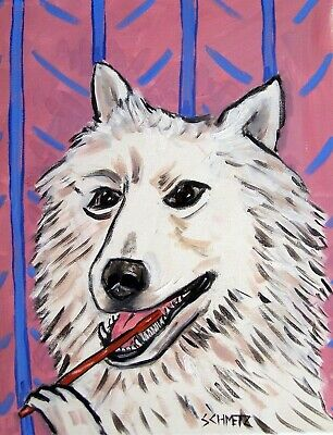 samoyed dog bathroom art  print animals impressionism 13x19 new