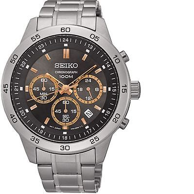 Seiko Chronograph SKS521 Black Dial Stainless Steel Band Men's Watch