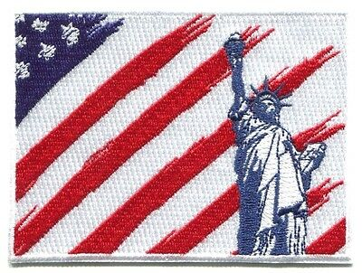"STATUE OF LIBERTY on American Flag EMBROIDERED IRON-ON PATCH 4"" u.s.a. usa u.s."