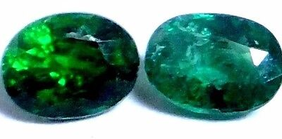 NATURAL SHARP GREEN TSAVORITE GARNET LOOSE GEMSTONES (2 pieces) OVAL SHAPE