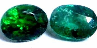 NATURAL TSAVORITE GREEN GARNET LOOSE GEMSTONES (2 pieces) OVAL-FACET