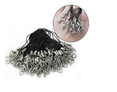 100Pcs Black Cell Phone Lanyard Cords Strap Lariat Mobile Lobster Clasp ZZ