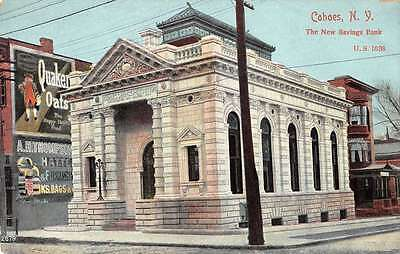 Cohoes New York New Savings Bank Street View Antique Postcard K28486