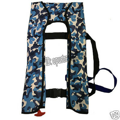 Camouflage Adult Inflatable Life Jacket Inflation PFD 150N Manual/ Automatic