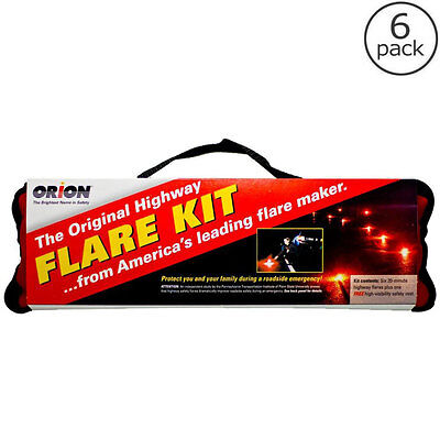 20 Minute Car Emergency Road Flare Kit (6-Pack), Auto Vehicle Highway Safety Kit