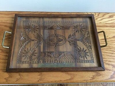 Large Antique  Hand Chip Carved Wood Tray Glass Top Brass Handles Inscription