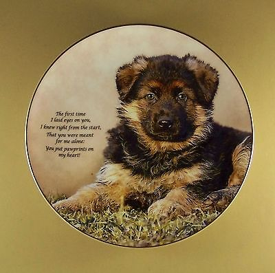 Cherished German Shepherds PAWPRINTS ON MY HEART Plate Dog Puppy Danbury Mint