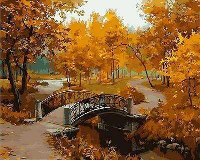 """New DIY Acrylic Paint By Number 16X20"""" kit Oil Painting On Canvas Autumn Scenic"""