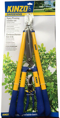 NEW KINZO 3pc GARDEN SET PRUNING CUTTING TRIMMING SHEARS GARDENING