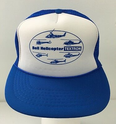 Vintage Bell Helicopter Textron Mesh Snapback Cap Blue Trucker Hat Aviation