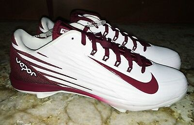 size 40 4f286 329c9 NIKE Lunar Vapor Pro Lo White Cardinal Red Baseball Spikes Cleats NEW Mens  Sz 13