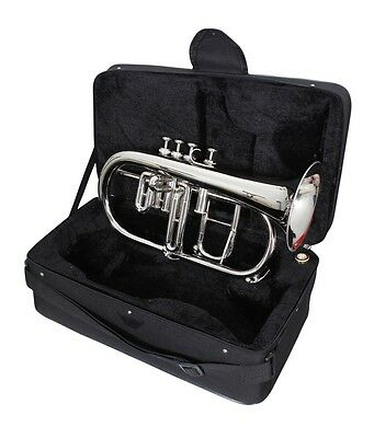 Brand New Nickel Plated Flugelhorn 4 Valve Nicely Tuned Ready For Use Nice Item